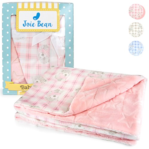 - JOIE BEAN Plush Baby Blanket for Newborn Girls | Soft Minky Fleece Pink Infant Blanket | Warm Reversible Lightweight Baby Blanket for Crib