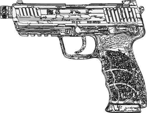 ION Graphics Pistol Sticker - 45 Cal Caliber Handgun Silhouette Vinyl Decal - 2nd Amendment Bumper Sticker - Perfect 2nd Amendment Gun Shooting Sports Gift - Made in The USA Size: 5 x 3.9 inch (Best 45 Cal Pistol)