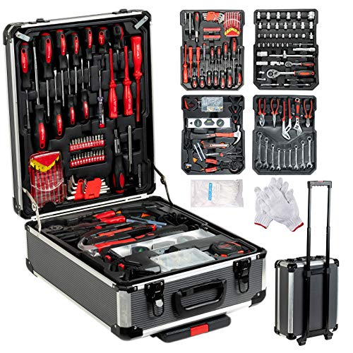 (SUNCOO 718 Pieces Mechanics Tool Set Standard Metric Hand Tool Kit with Case Aluminium Tool Box Organizer Casters Trolley with Telescoping Handle Black Case)