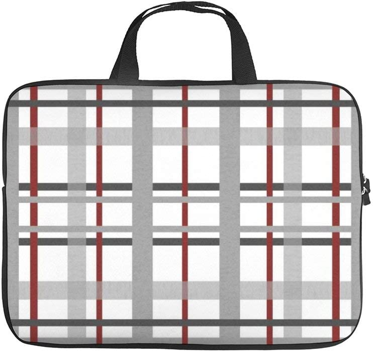 Laptop Sleeve Bag Compatible with 17 Inch MacBook Pro, MacBook Air, Notebook Computer, Water Repellent Polyester Vertical Protective Case Cover, Gray Burgundy Black White Grid Pattern