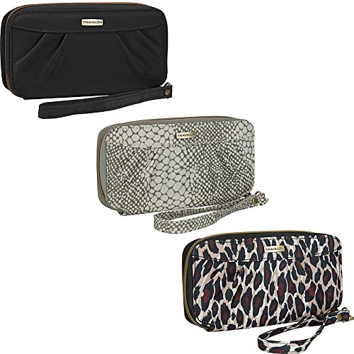 Travelon RFID-Blocking Womens Travel Zip Wallet Purse Wristlet with Strap