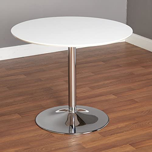 Simple Living White Chrome Metal Stand Single Pisa Dining Table Contemporary White