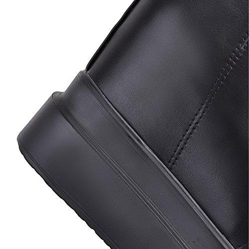 AllhqFashion Mujer Puntera Redonda Tacón Alto Material Suave Sólido Cordones Botas con Nudo Negro