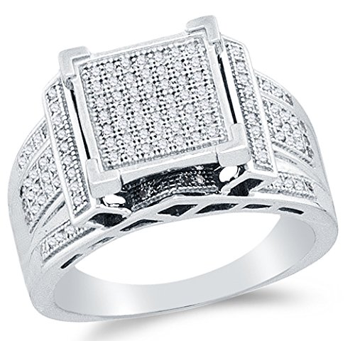 Sonia Jewels Size 4-925 Sterling Silver Round Diamond Engagement Ring - Micro Pave Square Princess Center Setting Shape (2/5 cttw.) ()