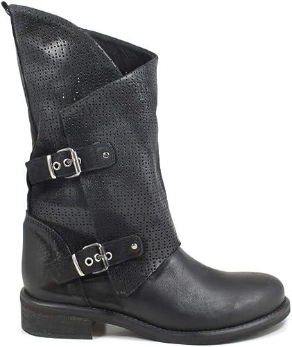 Stivali Biker Boots Asimmetrici Estivi Vera Pelle Nabuk Nero