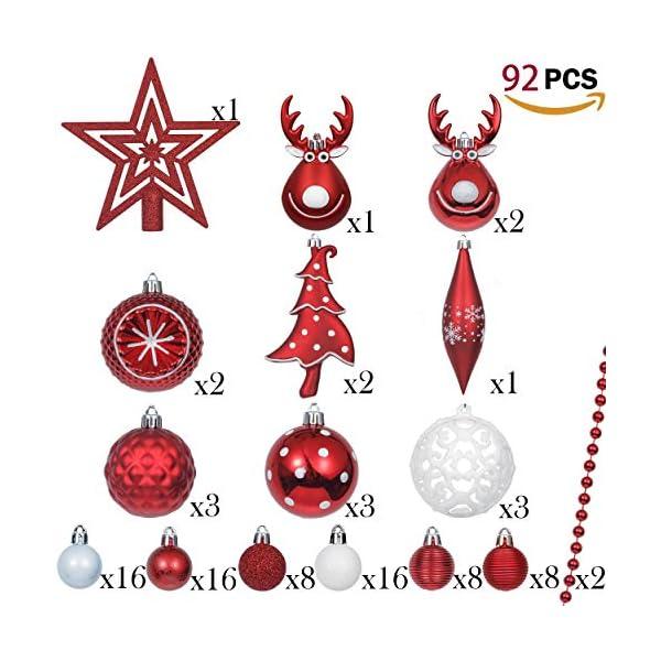 Victor's Workshop Addobbi Natalizi 92 Pezzi di Palline di Natale, 3-15 cm Tradizionali Ornamenti di Palle di Natale Infrangibili Rossi e Bianchi per la Decorazione Dell'Albero di Natale 3 spesavip