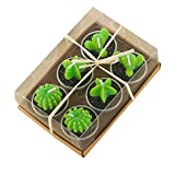 Cactus Candles, 6 Pcs Mini Cute Carambola Prickly pear Tealight Candles Handmade Succulent Cactus Candles for Home, Decor, Gift, Birthday Party (Mixed)