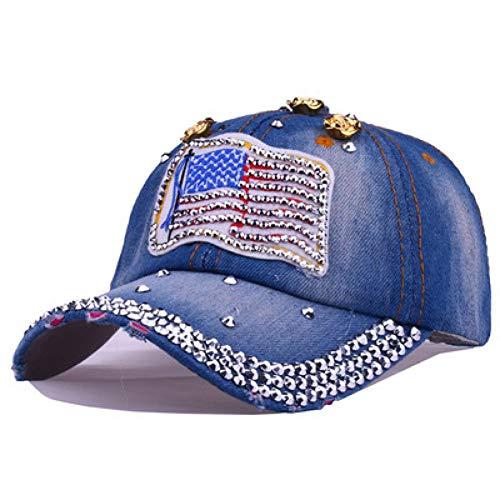 AZSXDC Shining Women Denim Bone Casquette Hats Summer Female Cowboy Women's Baseball Cap