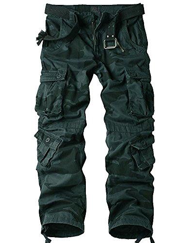 Jessie Kidden Men's Casual Military Cargo Pants, 8 Pockets Cotton Wild Combat Tactical Trousers,7533 Dark Camouflage,40 ()