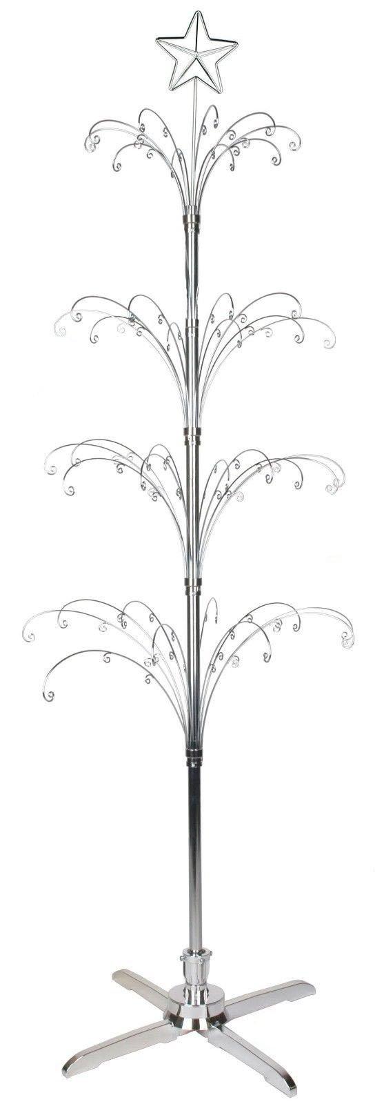HOHIYA Metal Christmas Ornament Display Tree Rotating Stand Chrome Plated 90 Hooks 74inch(Silver) by HOHIYA (Image #2)