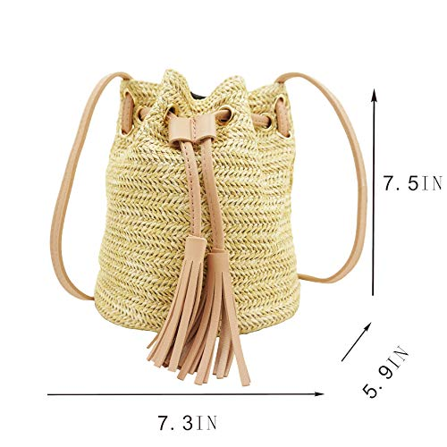 Pink Travel for Light Straw Purse Woven Women Straw Summer Straw with Bag Crossbody Beach Chic Vacation Tassel Bag for Leather Bag Bag qRx1UwZ4F