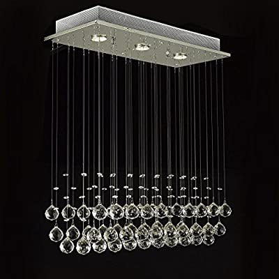 Lightess Modern Chandelier Rain Drop Lighting Crystal Ball Fixture Pendant Ceiling Lamp