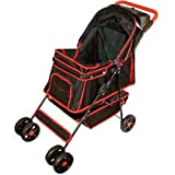 Petzip Walkie Stroller, Black With Red Trim