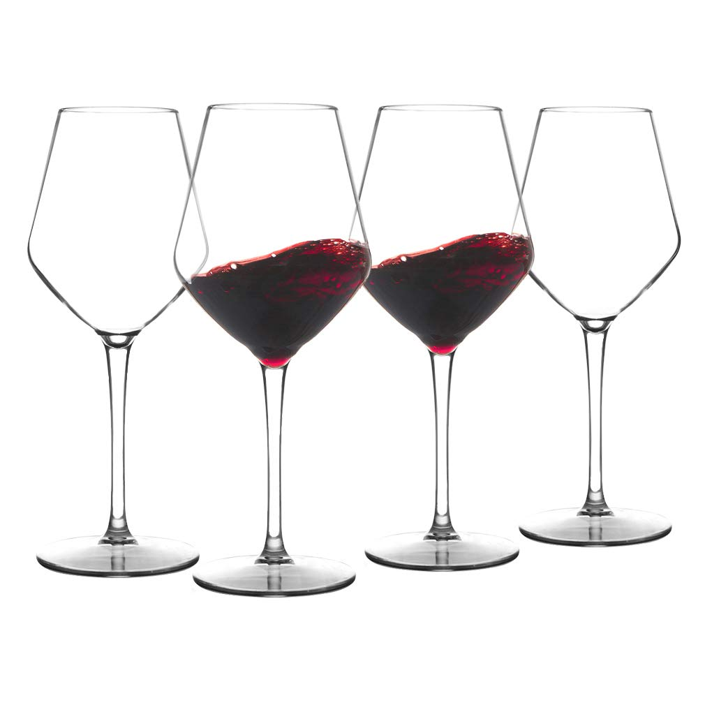 MICHLEY Unbreakable Stemmed Wine Glass 100% Tritan Plastic Dishwasher safe Glassware 15 oz, Set of 4