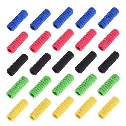 BCP 25pcs 1.6-inch Multi-Color 11 Rings Soft Foam Pencil Grips Pencil Cover (Multi-Color)
