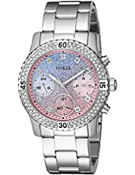 GUESS Womens Stainless Steel Crystal & Glitter Accented Watch, Color: Silver-Tone (Model: U0774L1)
