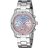 GUESS Women's Stainless Steel Crystal & Glitter Accented Watch, Color: Silver-Tone (Model: U0774L1)