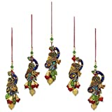 NOVICA Hand Beaded Multi-Color Christmas Holiday Ornaments, 'Mughal Peacocks' (set of 5), Handmade in India