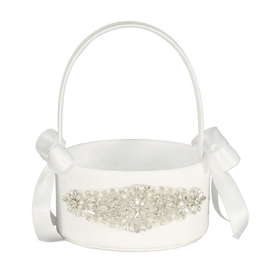 LAPUDA Flower basket series-Wedding Flower Basket, Flower Girl' Basket, Rhinestone Flower Basket (Ivory, Style HL0251)