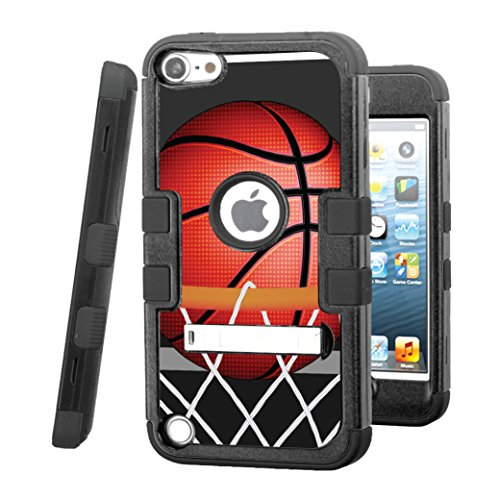 iPod touch 5 / 6 Case, CASECREATOR[TM] For Apple iPod touch 5th / 6th GEN () -- TUFF Hybrid Stand Rubber Hard Snap-on Case Black Black-BasketBall Hoop (Basketball Stands And Hoops)