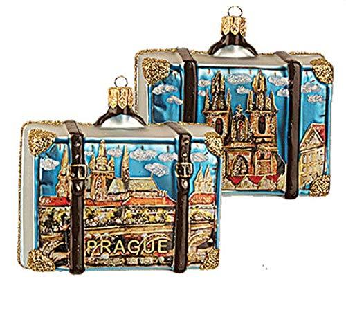 (Prague Suitcase Polish Glass Christmas Ornament Travel Souvenir Decoration)