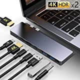 USB C Hub,GIKERSY 8-in-1 USB C Docking Station with 2 HDMI 4K,3 USB-C Ports,2 USB 3.0 Ports,3.5mm Audio Jack,Compatible with MacBook Pro 2018/2017/2016 13/15inch,MacBook Air 2018 13 inch
