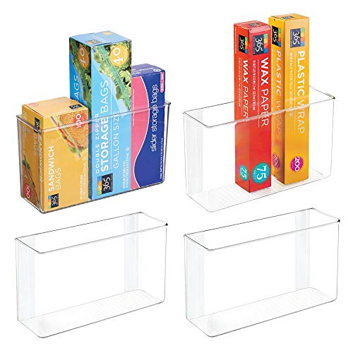 mDesign Modern Plastic Adhesive Cabinet and Wall Mount Storage Organizer Bin for Boxed Sandwich Bags, Plastic Wrap, Aluminum Foil, Parchment/Wax Paper, 4 Pack, 3.5 x 11 x 6.5 - Clear