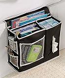 Richards Homewares 6 Pocket Bedside Storage Mattress Book Remote Caddy (Caddy, Black)