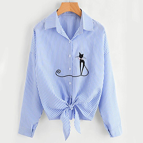 Femme Ray Taille Casual Femme Longues Chemisier Grande Shirt imprim V Manches Blouse Blouse Col Blouses Chemisiers Weant Bleu Tops Bandage qUpPgp