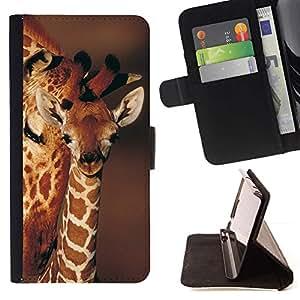 Momo Phone Case / Flip Funda de Cuero Case Cover - Modelo de la jirafa Cub de bebé Marrón Naranja ?frica - HTC DESIRE 816