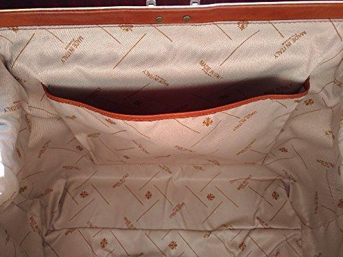 Doctor's Bag–Bolso médico de Piel clásica de Becerro, tamponada a mano, fabricado en Italia