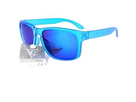 lunettes de soleil mixte homme femme mode tendance 023753vt (monture rouge verres revo jaune, largeur:135mm hauteur:47mm)