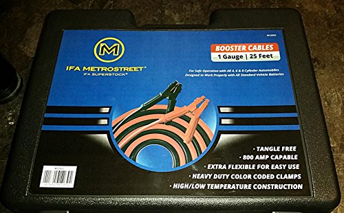 Metrostreet 1 Gauge 25ft Heavy Duty Carrying Case Package of 2 Booster//Jumper Cables