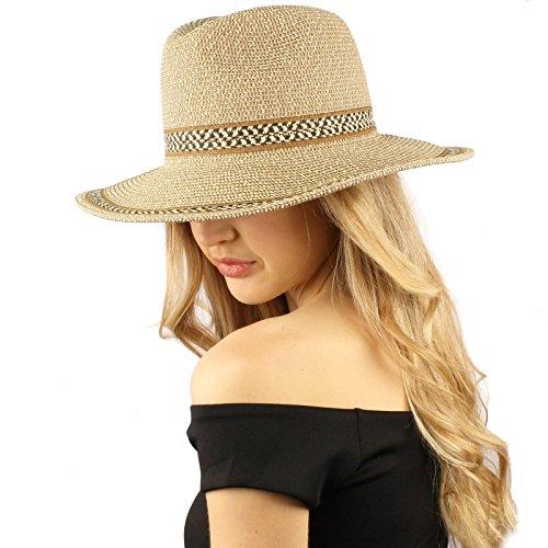 Marled Crushable Panama Fedora Safari Summer Beach Sun Hat Adjustable 56cm Toast