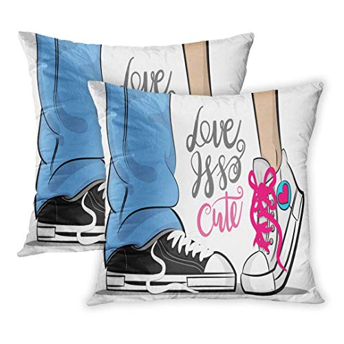 SPXUBZ Pop Man Woman Sneakers Legs Blue Jeans Shoelace Stay Kiss Romantic Philosophy Lettering Love Comic Text Pillow Cover Home Decor Nice Gift Square Indoor Pillowcase Set of 2 (Two Sides) ()