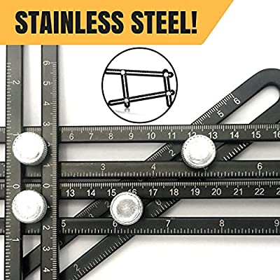 PILPOC Stainless Steel Multi Angle Measuring Ruler, Stainless Steel Black Unbreakable Thick Angle Ruler Template Tool, Laser Etched Markings, Carpenter Pencil, Cloth Case and Box