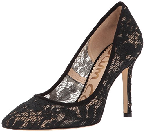 Sam Edelman Women's Hazel Pump, Black Nude Botanical Lace, 8.5 Medium US ()