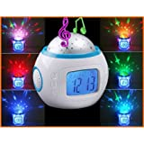 Colorful Novelty Starry Sky Digital LED Projector Music with Backlight Calendar and Thermometer Desk & Shelf Alarm Clock - White