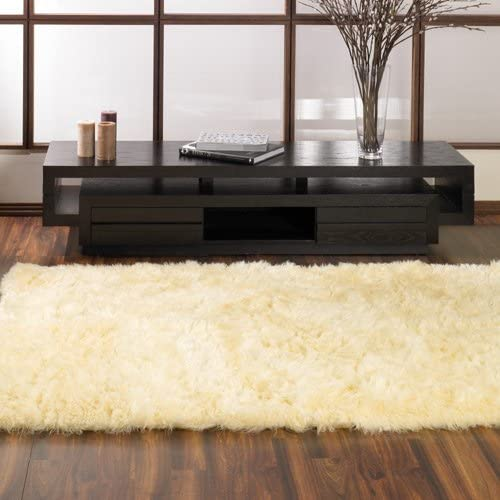 Walk on Me Classic Faux Fur Sheepskin Rug in Ivory – Rectangle – New Made in France 3×5 Actual 39 x 55