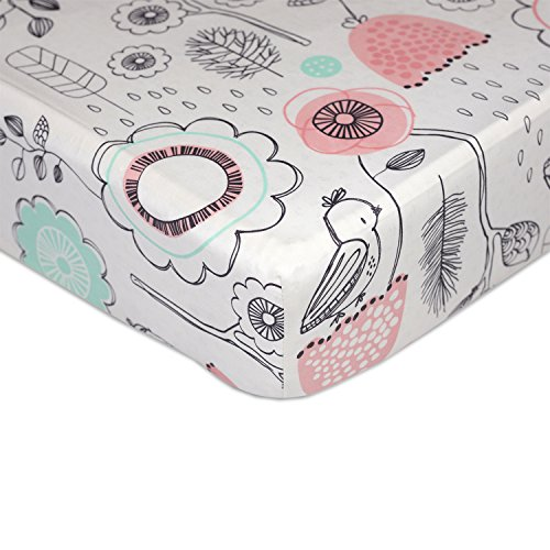 Lolli Living 100% Cotton Crib Fitted Sheet. Sparrow Pattern Ultra-Soft Fitted Crib Sheets (Standard Size) - Lifestyle Floral Pillow