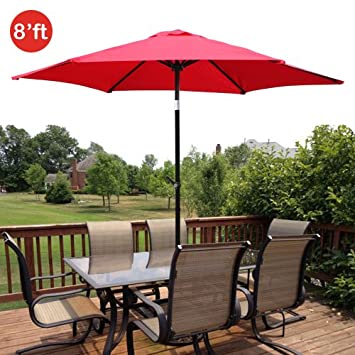 GotHobby 8ft Outdoor Patio Umbrella Aluminum w Tilt Crank – Red