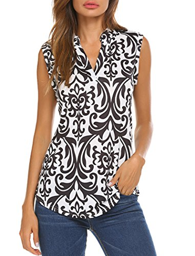 (Halife Womens Summer Sleeveless V Neck Dressy Shirts Pleats Flowy Tunic Tank White S)