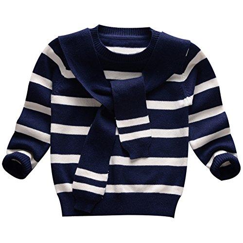 Taiycyxgan Baby Jungen Mädchen Strickjacke kinder Baumwolle Hemd Schleife Langarm Pullover kleinkinder Pullover mit Schal 1-6Jahre