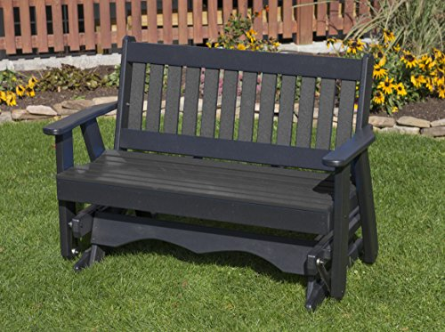 5FT-DARK GRAY-POLY LUMBER Mission Porch GLIDER Heavy Duty EVERLASTING PolyTuf HDPE – MADE IN USA – AMISH CRAFTED