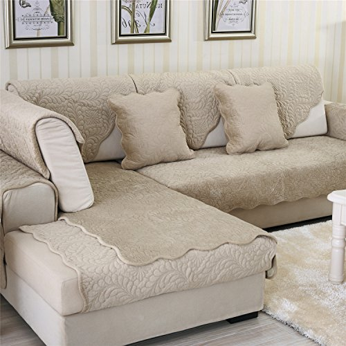 (OstepDecor Soft Petris Quilted Sofa Furniture Protector Couch SlipCover for Pet Dog Children Kids | Backrest and Armrest Sold Separately | Light Tan 36