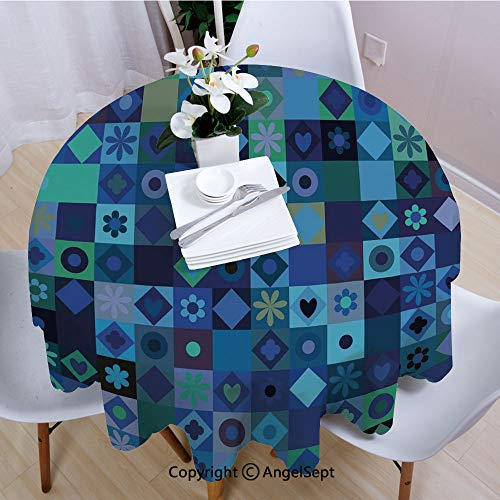 """AngelSept Fashion Round Tablecloth,Play Cards Inspired Hearts Circles Squares Flower Modern Image,55"""" Round,for Indoor Outdoor Camping Picnic,Blue Fren Green Black and Purple"""