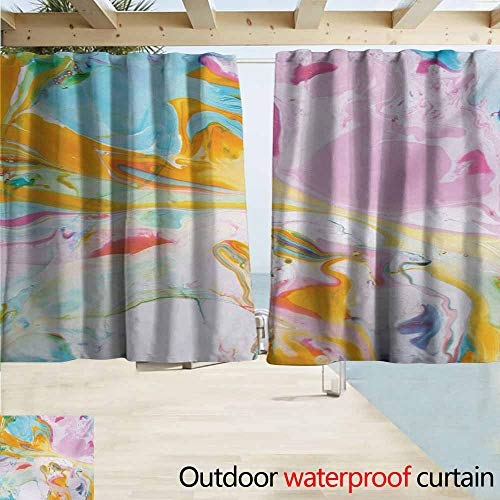AndyTours Balcony Curtains,Abstract Psychedelic Digital Interlace Wavy Formless Splashes Contemporary Abstract Illustration,Rod Pocket Energy Efficient Thermal Insulated,W55x45L Inches,Multi