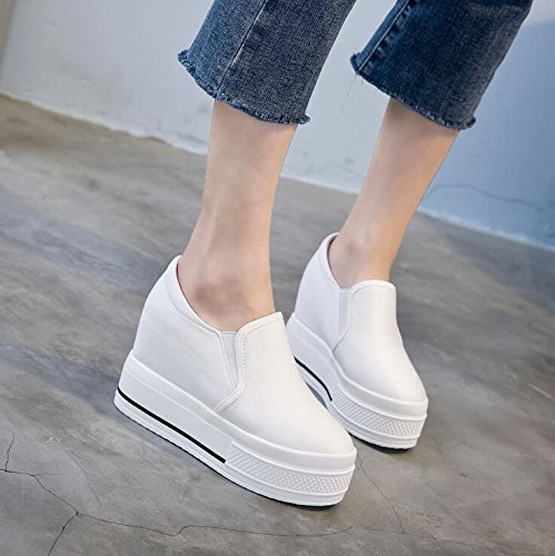 KHSKX-Koreanische Blatt Weiße Dicke Basis Kuchen Eine Leinwand Schuhe High Heels Fuß 10 Cm Cm Freizeit - Frauen - Schuh Thirty-four