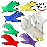 Jalousie 7 Pairs Garden Gloves Including 3 Pairs Women's Garden Gloves (Medium Size), 3 Pairs Men's Garden Gloves (Large Size) and 1 Pair Rose Pruning Gloves with Long Gauntlet (7 Pair Pack)
