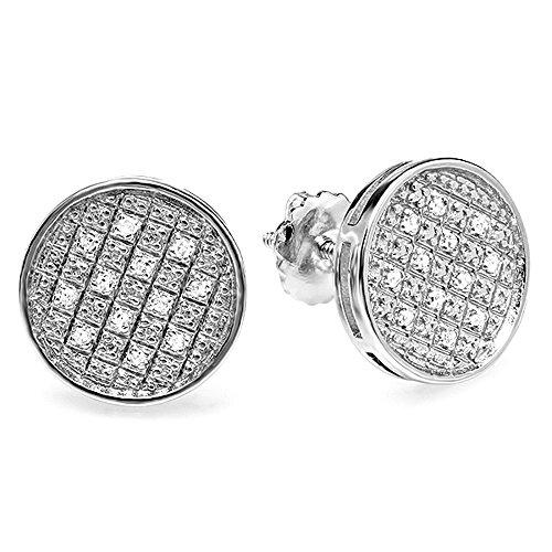 Dazzlingrock Collection 0.20 Carat (ctw) Round Diamond Circle Shape Mens Ladies Unisex Hip Hop Stud Earrings, Sterling Silver